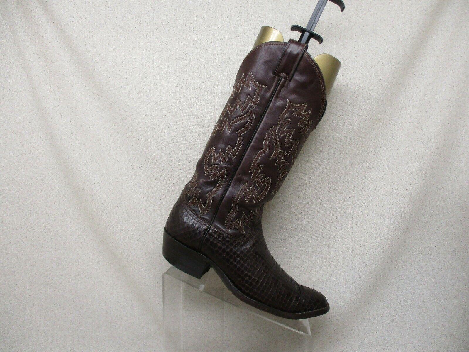JUSTIN Marrón Cuero Piel De Serpiente vaquero occidental botas MENS TAMAÑO D 8.5 estilo 3661