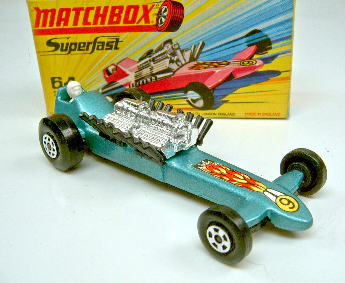 MATCHBOX sf Nº 64b slingshot Dragster vertmet. rare noire pipes top dans Box