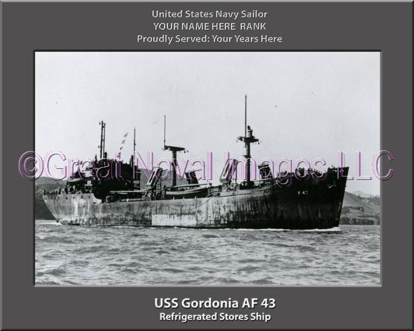 USS Gordonia AF 43 Personalized Canvas Ship Photo Print Navy Veteran Gift