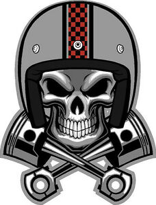 "m142 6"" cafe racer skull pistons helmet decal sticker vintage"