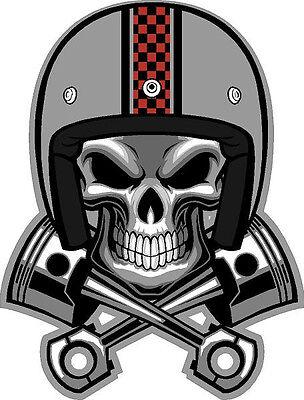 "#321 4"" Cafe Racer Skull Pistons Helmet Decal Sticker Vintage Cb350 cb400 kz1000"