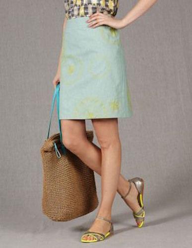 Brand New Boden Embroidered Falling Flower Linen Skirt Size US 10