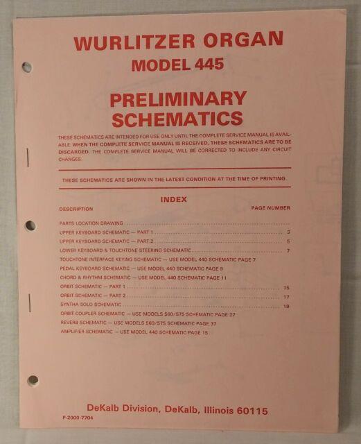 Wurlitzer Model 445 Organ Service Manual - Preliminary Schematics
