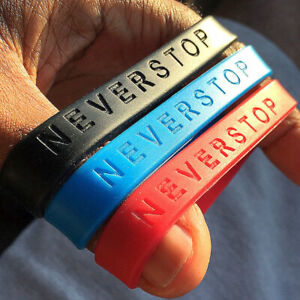 NEVER-STOP-Silicone-Bracelet-100-Brand-New-The-Motivation-You-Can-Wear