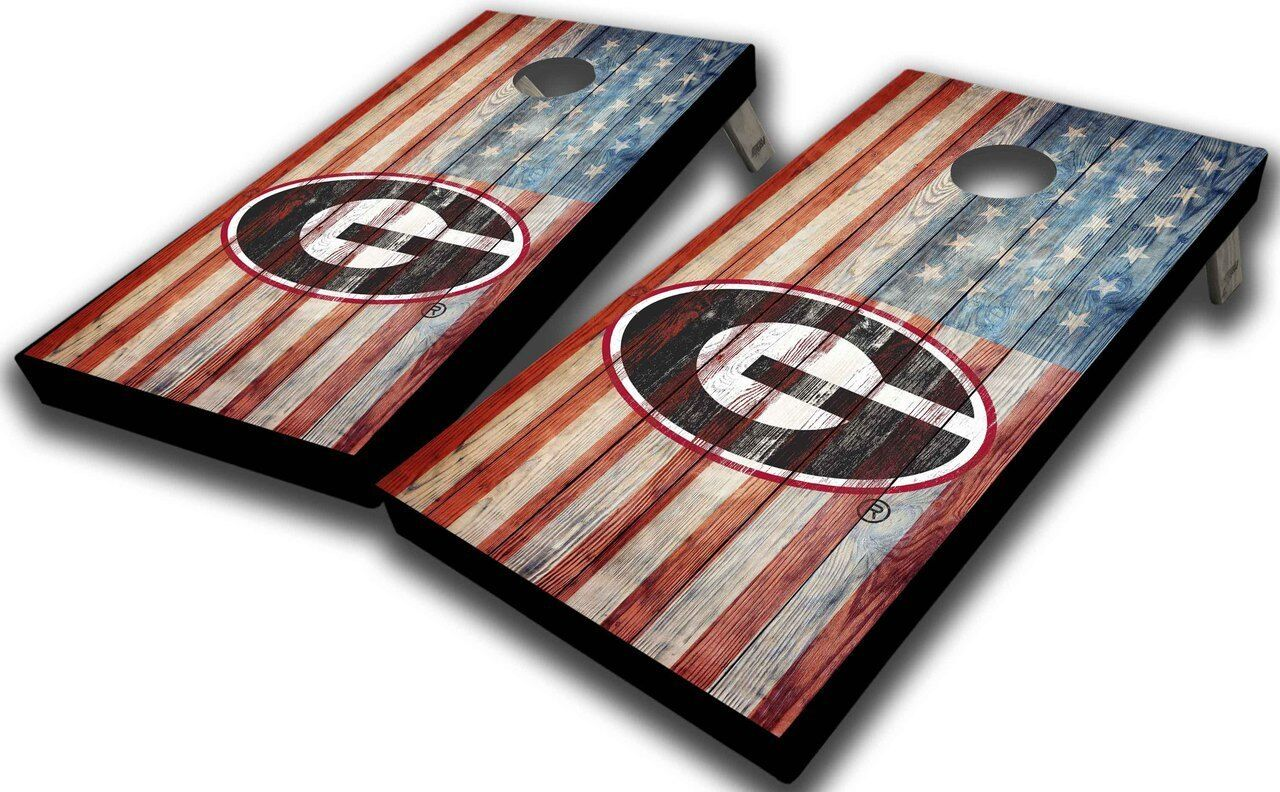 University of Georgia American Flag Rustic Planks Cornhole Board Set