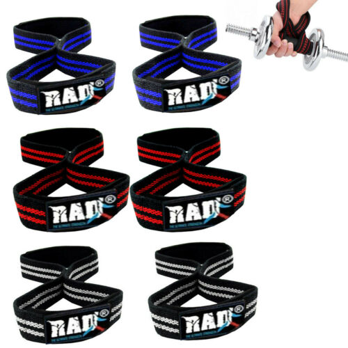 FIGURE 8 PADDED Cuff Strap Weight Lifting TRAINING Gym STRAPS Hand Bar GRIP