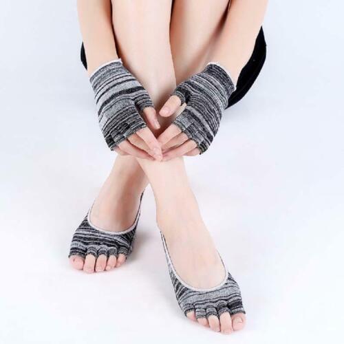 Half Toe Finger Non-Slip Massage Sport Soft Socks Cotton Women Yoga Socks T