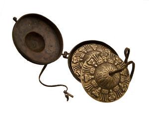 Piatti Tibetano Con Custodia Rame Simboli Amore Modello Antico 2054 X5B