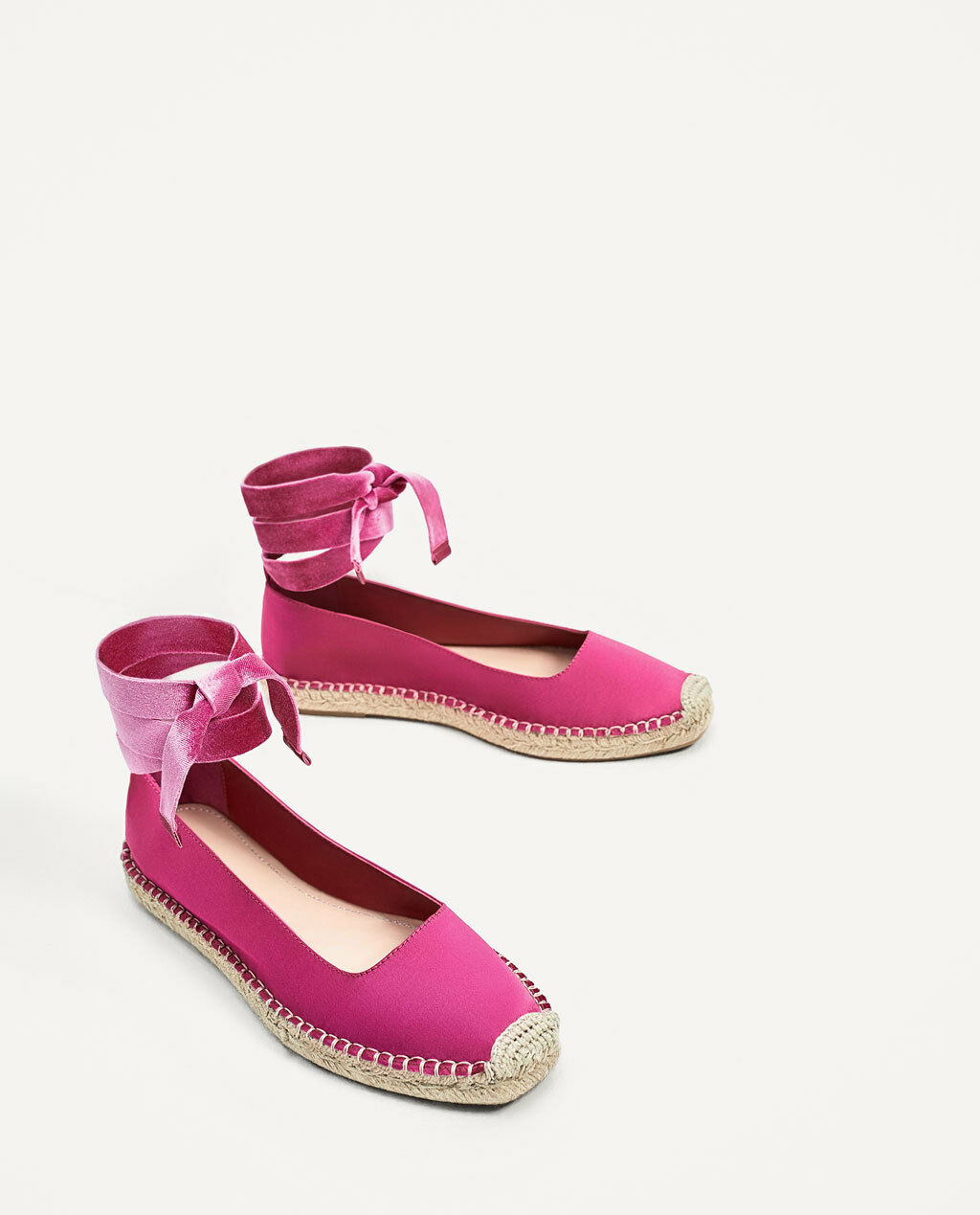 ZARA FUCHSIA SATIN TIED ESPADRILLES FLAT Schuhe SIZE UK4 EUR37 US6.5 NEW