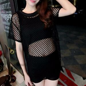 Women loose mesh net top t shirt short sleeve back split for Shirts with see through backs