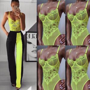 Women-Lingerie-Deep-V-Neck-Lace-Jumpsuit-Babydoll-Sleepwear-Underwear-Bodysuit