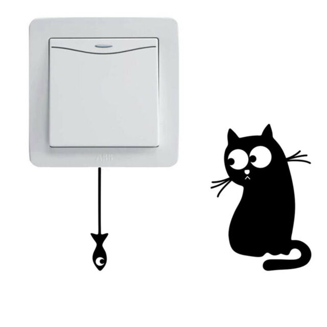 Hungry Cat DIY Living Room Home Decor Wall Sticker Decal Switch Stickers