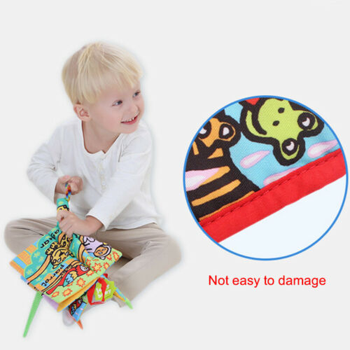 Kids Baby 3D Educational Animal Tail Cloth Book Multi-touch English Soft Book
