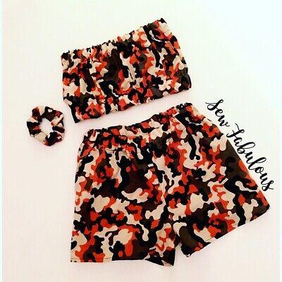 Handmade Women/'s Outfit Short Clothes New UK Cherry Bandeau Festival 3 Piece Set
