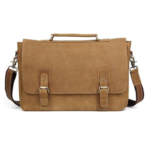 """Men/'s Vintage Leather Briefcase Messenger Shoulder Bag 15/"""" Laptop Saddle Satchel"""