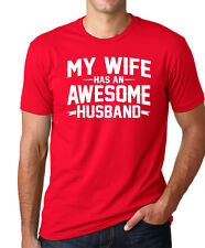 MY WIFE HAS AN AWESOME HUSBAND funny couples Valentine's Day T-Shirt RED LARGE