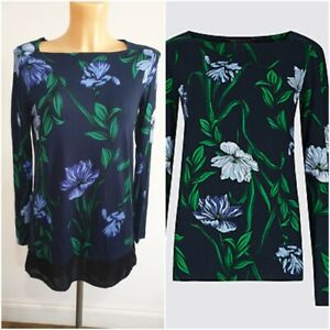 NEW-Ex-M-amp-S-Ladies-NAVY-Floral-Print-Tunic-Top-Size-8-24
