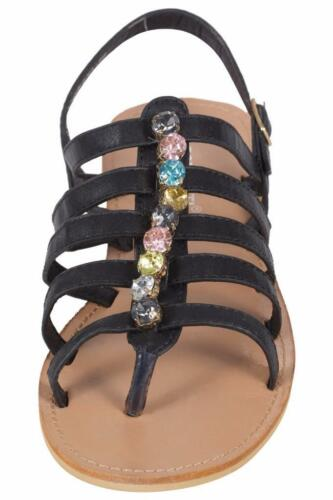 Women/'s Ladies Flats Strappy Sandals Toe Post Ankle High Caged Gladiator Shoes