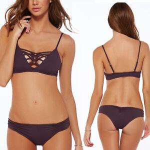 7b8ec5eb22 Image is loading 2pc-Geometric-Straps-Bralette-Bandeau-Swimsuit-Bikini -Halter-