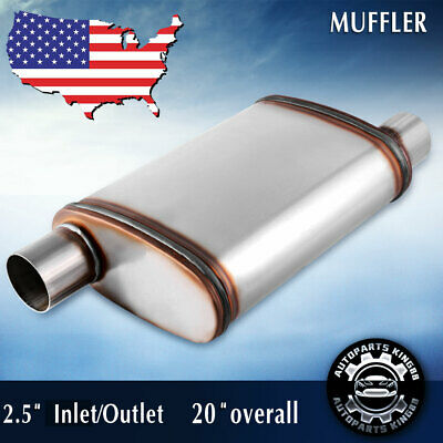 19 Overall Length 2.5 Inlet//Outlet Offset Muffler AUTOSAVER88 Universal Stainless Steel Welded Oval Exhaust Resonator for truck