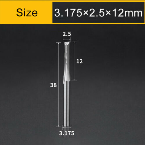 1-3.175mm 2 Flute Straight Slot CNC Router Bit Carbide End Mill MDF Wood Cutting