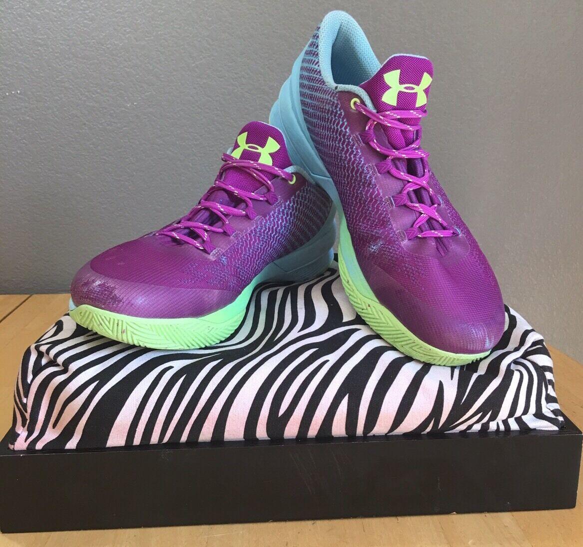 Men's Under Armor Purple & Teal Basketball Shoe Sneakers Size 12.5 U.K. 11.5