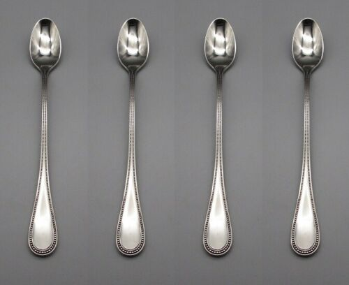 Towle Stainless Beaded Antique Iced Tea Spoons Germany Set of Four
