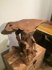 Teak Tree Root Side Table Coffee Carved Wood Reclaimed Plant Cake Stand 50cm L1