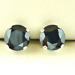 Black-Rhinestone-Solid-Silver-Plated-Earrings-3mm-Round-Created-Stone-CR-D-Q-amp