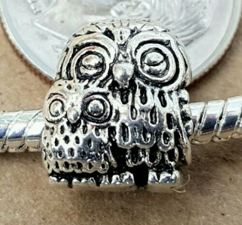 Mother Child Animal European Bead Charm 1PC Antique Silver Mommy Baby Owl Bird