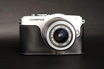 Genuine REAL LEATHER metà Fotocamera Custodia Borsa Cover per Sony A6000 10 COLORI