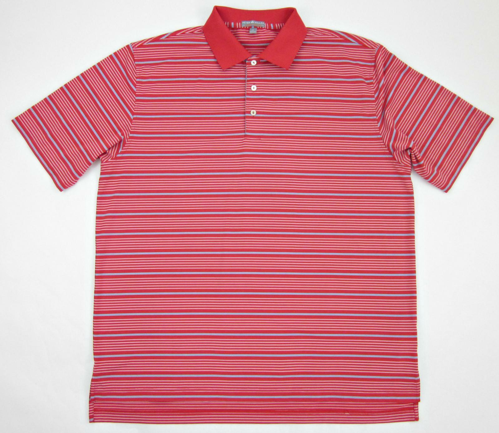 Peter Millar Summer Comfort Staley Stripe Polo Red Wh Steel bluee XL Worn Once