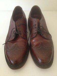 WILLIAM-HAHN-OXFORDS-SHOES-SIZE-7D-LEATHER-BROWN-VINTAGE