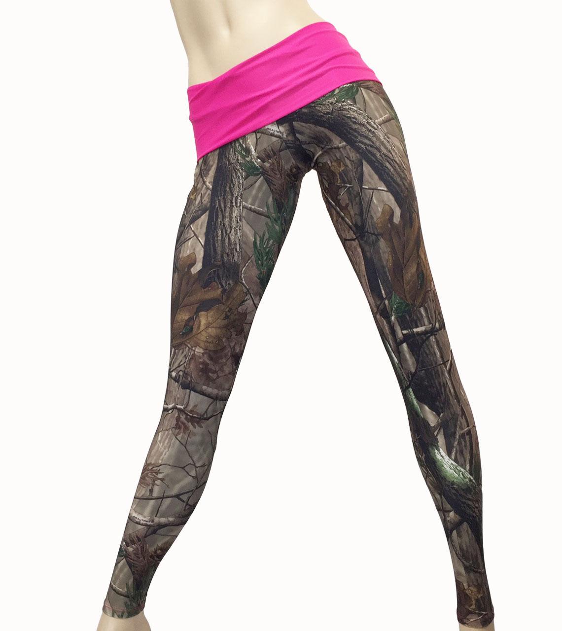 Camo Yoga Pants High Waist Pant Fold Over Pink Camo Legging Camouflage Pants