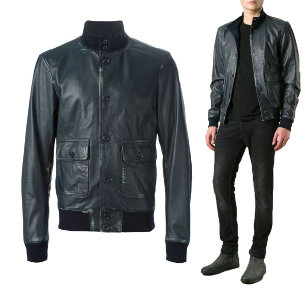 US Men Leather Jacket Hommes veste cuir Herren Lederjacke chaqueta de cuero  R23 de2992bbe9de