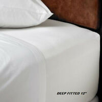 1 Queen Size White Hotel Fitted Sheet T180percale Hotel 60x80x12 Deep Pocket on sale