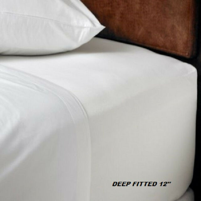 1 Queen Size White Hotel Fitted Sheet T180percale Hotel 60x80x12