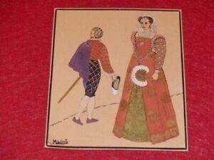 Beautiful-original-signed-drawing-m-libert-ink-gouache-gold-ca1930-costumes-sixteenth-france