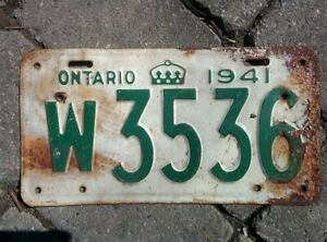 Vintage 1941 Ontario ON Canada Vehicle License Plate White Green  ~ POOR w3536