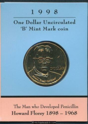 "1998 Australia Howard Florey $1 Unc Coin /""B/"" Mark"