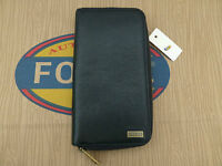 Fossil Wallet Upright Style Omega Long Black Travel Leather Coin Wallet Rrp£65