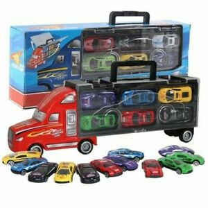 Toy-Cars-Transport-Car-Carrier-Semi-Truck-6-little-Cars-Kids-Birthday-Xmas-Gift