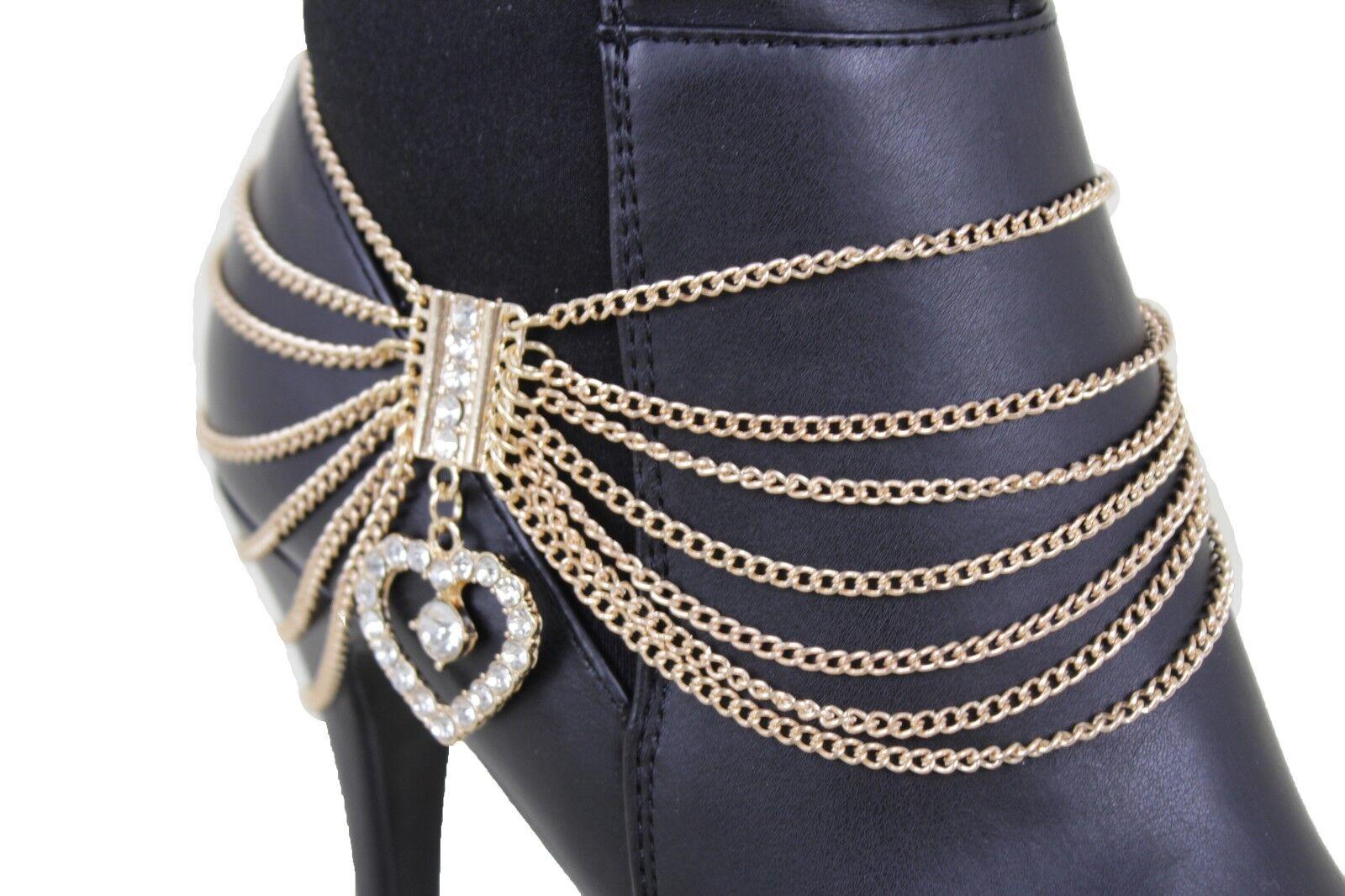 Friendship Women Gold Metal Chain Boot Bracelet Shoe Anklet Love Heart Charm Fun
