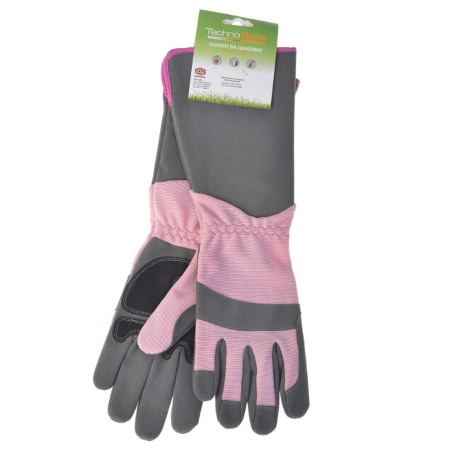 Gartenhandschuhe Technosafe lang Kunstleder Stretch grau//pink Größe 8