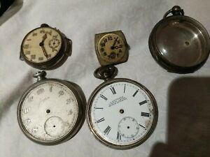 Junghams Saunders Silver Pocket Watch Parts Bulk Antique Vintage Bulk