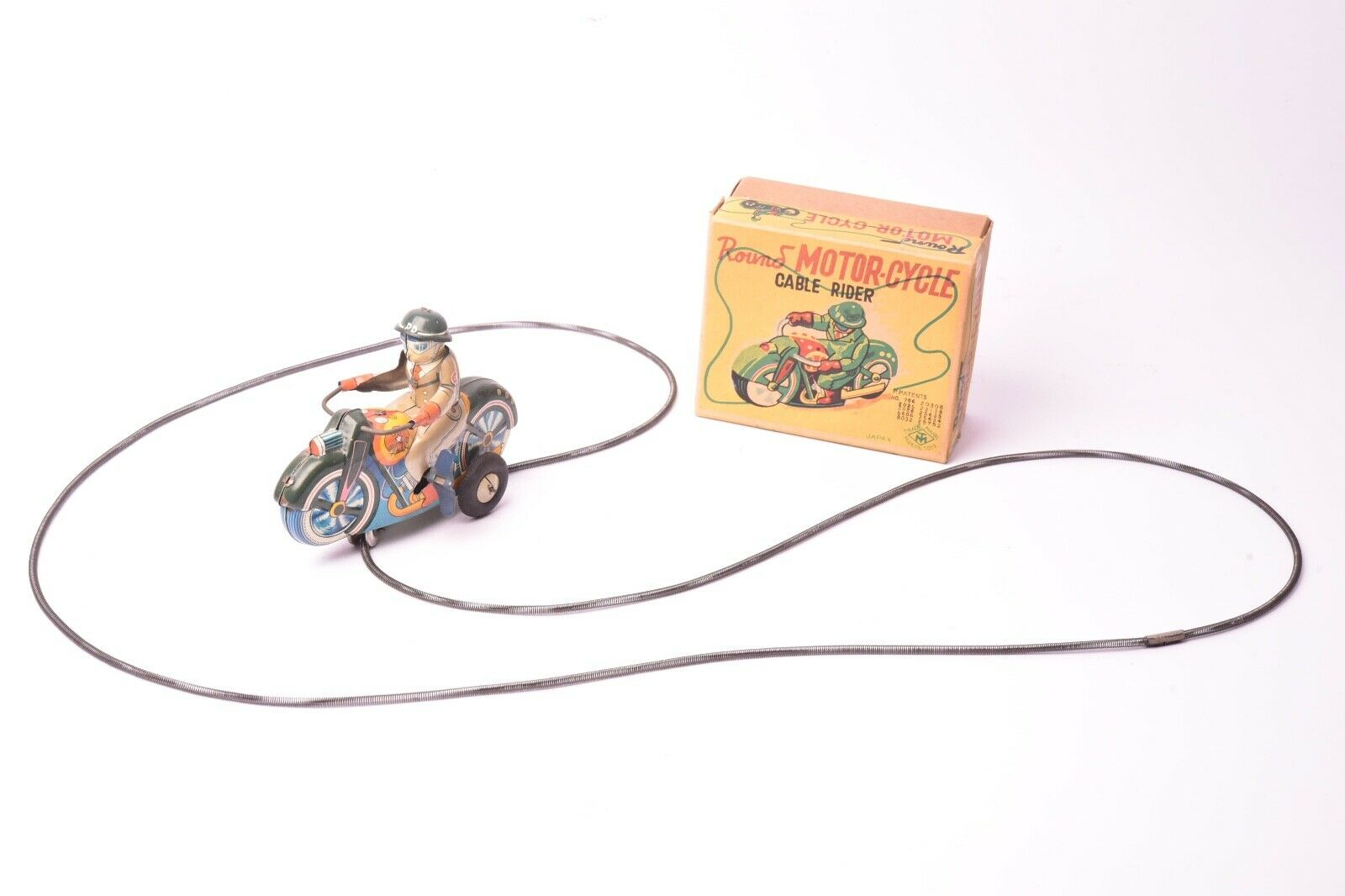 Juguete Ancien. Moto Cable, Moto Militar Chapa Litografiado, Japón MT, 1950