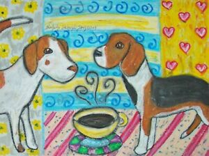 AMERICAN-FOXHOUND-Drinking-Coffee-Dog-Outsider-Vintage-Art-8-x-10-Signed-Print