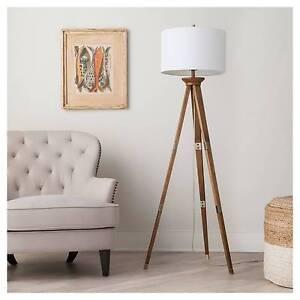 Oak wood tripod floor lamp threshold153 ebay image is loading oak wood tripod floor lamp threshold aloadofball Gallery