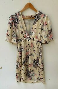 COOPER ST cream beige floral puff sleeve mid-thigh length dress size 10