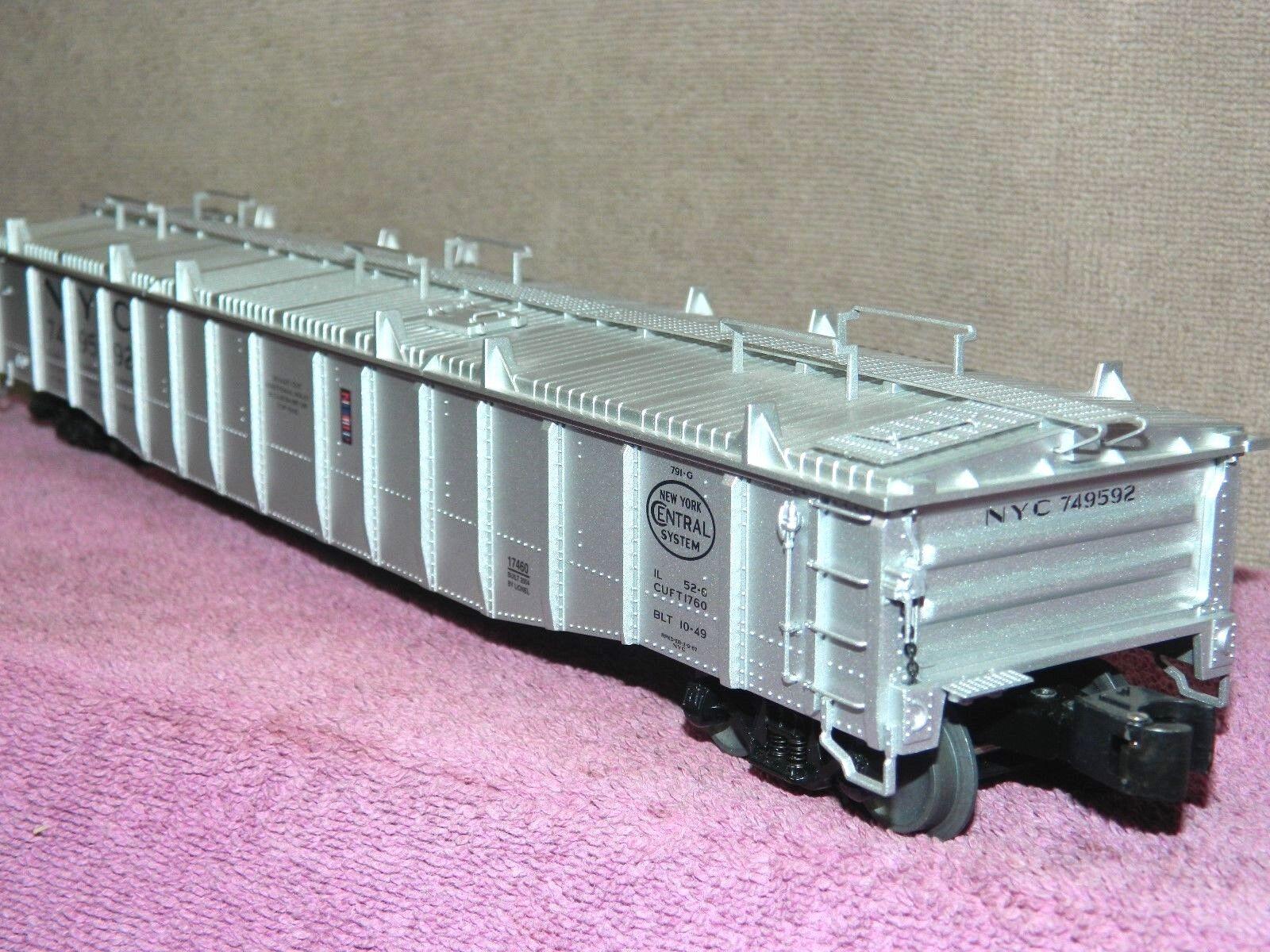 LIONEL SCALE  617460 nuovo YORK CENTRAL PS5 52ft COVErosso GONDOLA auto wDROP ENDS